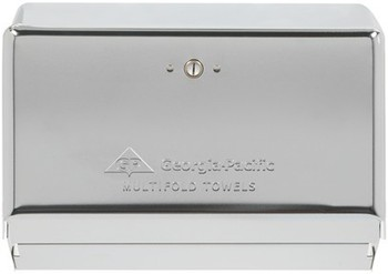 Picture of item 976-890 a Georgia-Pacific Chrome Multifold Space Saver Towel Dispenser. 11.630 X 4.25 X 8.50 in. Chrome. 10 count.