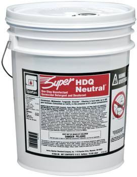 Picture of item 604-138 a Super HDQ Neutral®.  One Step Disinfectant Germicidal Detergent and Deodorant.  5 Gallon Pail.