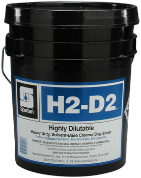 Picture of item 601-128 a H2-D2.  Highly Dilutable, Heavy Duty Cleaner / Degreaser.  5 Gallon Pail.