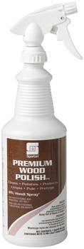 Picture of item 613-201 a Premium Wood Polish.  Includes flip top closures and 3 trigger sprayers.  1 Quart.