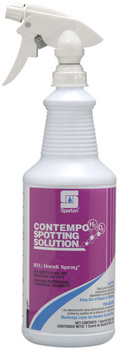 Picture of item 650-099 a Contempo® H202 Spotting Solution.  Hydrogen peroxide based carpet spotting solution. Includes gloves and 3 trigger sprayers.  1 Quart.