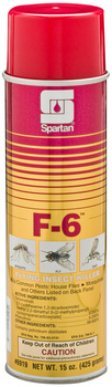 Picture of item 630-202 a F-6.  A combination of two powerful synthetic pyrethroid compounds. F-6 Flying Insect Killer quickly kills flying insects. EPA Reg. No. 706-83-5741.  20 oz. Can, Net 15 oz.