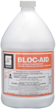 Picture of item H882-335 a Bloc-Aid®.  Drain and Sewer Cleaner/Maintainer. Includes gloves.  1 Gallon.
