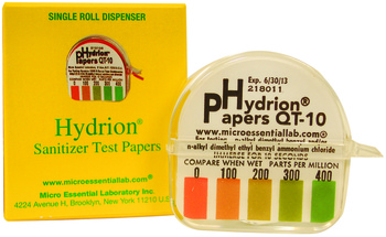Picture of item 604-804 a Disinfecting and Sanitation Tools.  Hydrion Paper QT-10.  Tests in-use parts per million of quaternaries.  0-400 ppm roll for sanitizers.