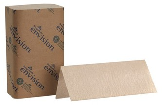 Picture of item 873-103 a Envision® Singlefold Paper Towels. 9.25 X 10.25 in. Brown. 4000 towels.