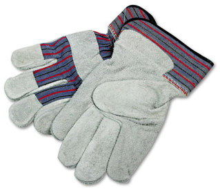 Picture of item BWK-1851 a Boardwalk® Men's Leather Palm Gloves,  Large, Gray/Multi, 12 Pairs
