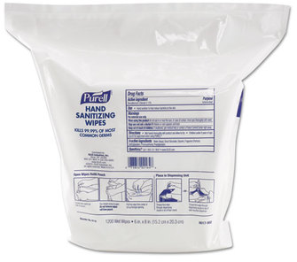 "Picture of item 970-692 a PURELL® Hand Sanitizing Wipes,  6"" x 8"", White, 1200/Refill Pouch, 2 Refills/Carton"