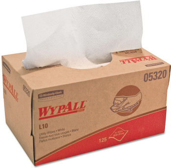 Picture of item 874-408 a WypAll* L10 Utility Wipes,  9 x 10.5, POP-UP Box, White, 125/Box, 18 Boxes/Carton