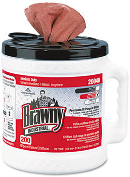 Picture of item 871-133 a Georgia Pacific® Professional Brawny Industrial® Medium Duty Premium Refillable Dry Wiper System,  10 x 13, Orange, 200/Can, 2 Cans/Carton