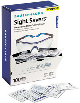 Picture of item BAL-8574GM a Bausch & Lomb Sight Savers® Premoistened Lens Cleaning Tissues,  100 Tissues/Box