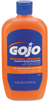 Picture of item 670-130 a GOJO® NATURAL* ORANGE™ Pumice Hand Cleaner. 14 fl oz Squeeze Bottle. 12 Bottles/Case.
