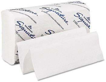 Picture of item 872-100 a GP Signature® 2-Ply Premium Multifold Paper Towels. 9.2 X 9.4 in. White. 2000 towels.