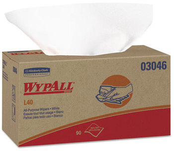 Picture of item 874-403 a WypAll* L40 Wipers,  10 4/5 x 10, POP-UP Box, White, 90/Box, 9 Boxes/Carton