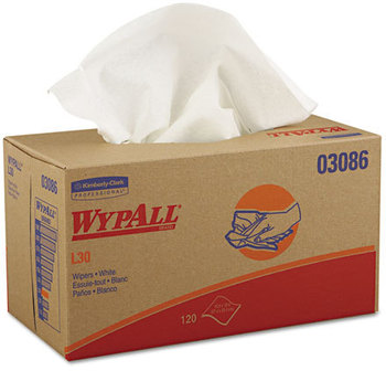 Picture of item 974-813 a WypAll* L30 Wipers,  10 x 9 4/5, White, 120/POP-UP Box, 10 Boxes/Carton