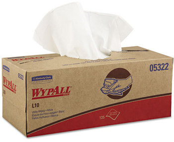 Picture of item 351-302 a WypAll* L10 Utility Wipes,  Box, 12 x 10 1/4, White, 125/Box, 18 Boxes/Carton