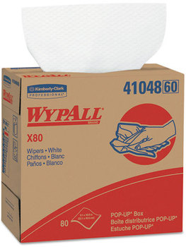 Picture of item 874-207 a WypAll* X80 Wipers,  9 1/10 x 16 4/5, White, 80/POP-UP Box, 5 Boxes/Carton