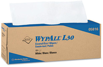 Picture of item 874-404 a WypAll* L30 Wipers,  9 4/5 x 16 2/5, 120/Box, 6 Boxes/Carton