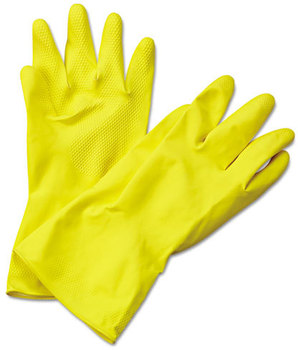 Picture of item BWK-242XL a Boardwalk® Flock-Lined Latex Cleaning Gloves,  Extra-Large, Yellow, 12 Pairs