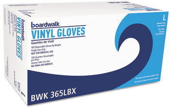 Picture of item BWK-365L a Boardwalk® General Purpose Vinyl Gloves,  Clear, Large, 2.6 mil, 1000/Carton