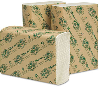 Picture of item 872-503 a EcoSoft® Multifold Towels. 9 1/8 X 9 1/2 in. White. 4000 towels.