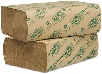 Picture of item 872-502 a EcoSoft® Multifold Towels. 9 1/8 X 9 1/2 in. Natural Color. 4000 towels.