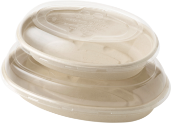 Picture of item WCC-BOSCUBB a Compostable, Biodegradable Plant Fiber Bowl.  32 oz. Burrito Bowl.  50 Bowls/Sleeve, 6 Sleeves/Case.