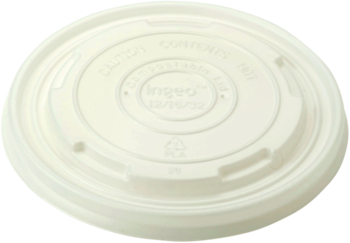 Picture of item WCC-BOLCS12 a Compostable PLA Lid.  Fits 12 oz. to 32 oz Paper Bowls.  White Color.  50 Lids/Sleeve, 20 Sleeves/Case.