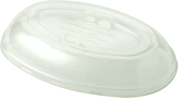 Picture of item WCC-BOLCSUBB a Ingeo™ Compostable Lid.  Fits 32  oz Burrito Bowl.  Clear Color.  50 Lids/Sleeve, 6 Sleeves/Case.