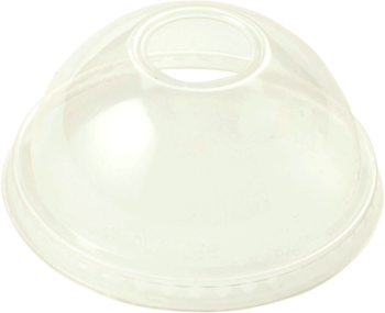 Picture of item WCC-CPLCS12D a Biodegradable Ingeo™ Lid.  Fits 10 oz. to 24 oz. Cold Cups.  Dome Lid with Straw Hole.  100 Lids/Sleeve, 10 Sleeves/Case.