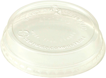 Picture of item WCC-CPLCS9 a Biodegradable Ingeo™ Lid.  Fits 4 oz. to 9 oz. Cold Cups.  Raised Lid, No Hole.  50 Lids/Sleeve, 40 Sleeves/Case.