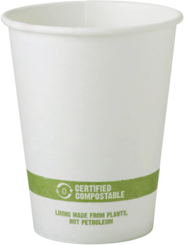 Picture of item WCC-CUPA12 a Biodegradable Paper Hot Cup.  12 oz.  White Color.  50 Cups/Sleeve, 20 Sleeves/Case.
