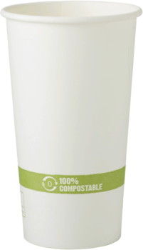 Picture of item WCC-CUPA20 a Biodegradable Paper Hot Cup.  20 oz.  White Color.  50 Cups/Sleeve, 20 Sleeves/Case.