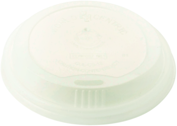 Picture of item WCC-CULCS12 a Compostable PLA Lid for Hot Cup. Fits 10 oz. to 20 oz. Hot Cups. White Color. 50 Lids/Sleeve, 20 Sleeves/Case.