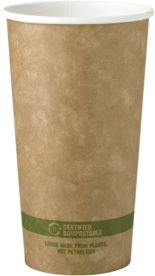 Picture of item WCC-CUPA20K a Biodegradable Paper Hot Cup.  20 oz.  Kraft Color.  50 Cups/Sleeve, 20 Sleeves/Case.