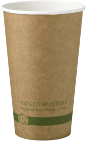 Picture of item WCC-CUPA16K a Biodegradable Paper Hot Cup.  16 oz.  Kraft Color.  50 Cups/Sleeve, 20 Sleeves/Case.